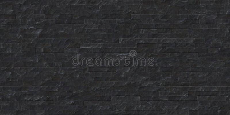 Perfekte nahtlose schwarze Schiefersteinmaurerarbeitbeschaffenheit lizenzfreie abbildung
