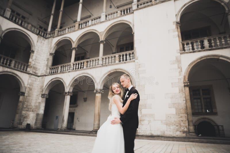 Perfekte Paarbraut, Br?utigam, der in ihrem Hochzeitstag aufwirft und k?sst stockbild