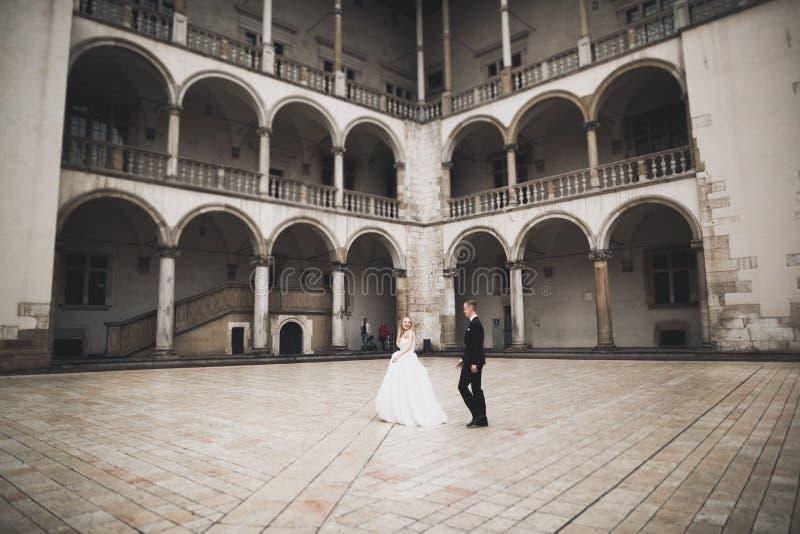 Perfekte Paarbraut, Br?utigam, der in ihrem Hochzeitstag aufwirft und k?sst stockfotos