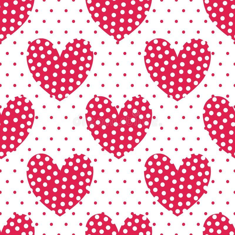 Perfekte rote Herzen mit Tupfen Endloses Projekt des Vektors Nahtloses Muster vektor abbildung