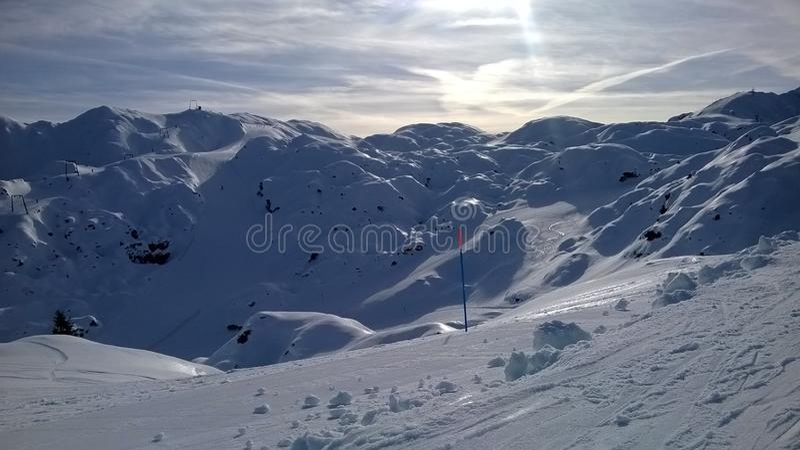 Perfekte Schneeverhältnisse auf Vogel Ski Centre, Slowenien lizenzfreie stockbilder
