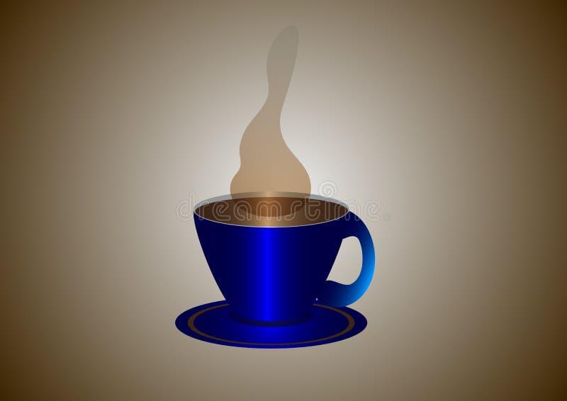 Perfekter blauer Tasse Kaffee mit Dampf lizenzfreie abbildung