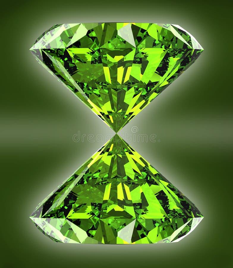 Perfekter Smaragd auf einem weißen Hintergrund stock abbildung