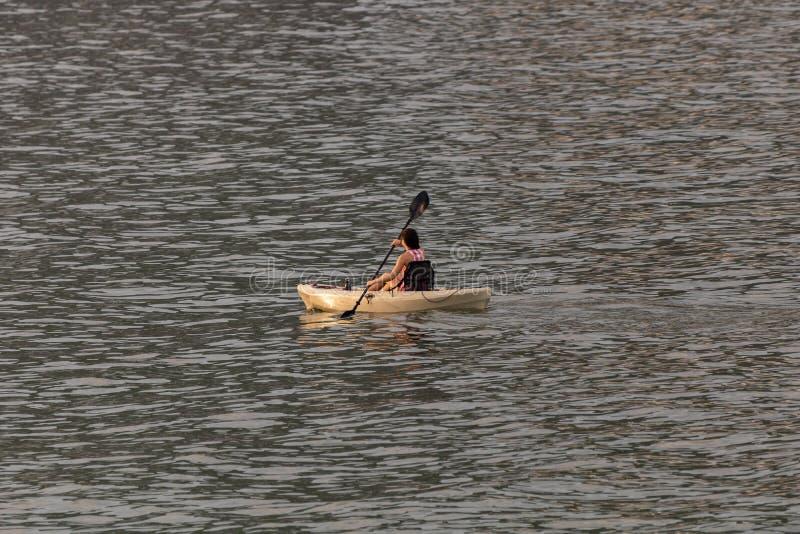 Perfekter Tag für das Kayak fahren Schöne junge schaufelnde Frau beim Sitzen im Kajak stockbilder