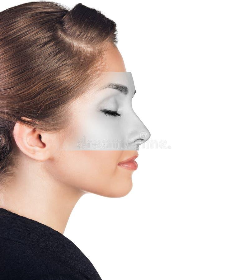 Perfektes weibliches Gesicht gemacht von den verschiedenen Gesichtern stockbild