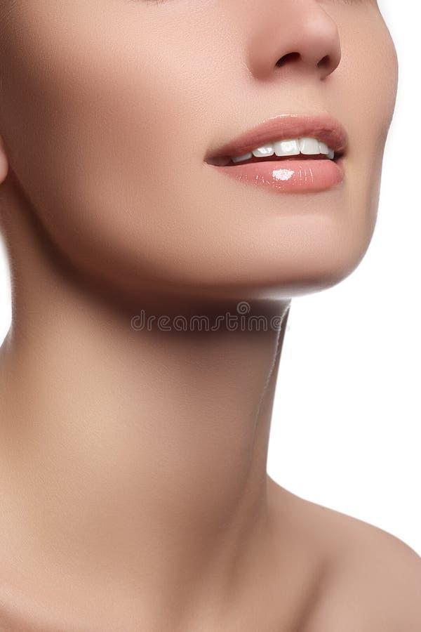 Perfezioni il sorriso con i denti sani bianchi e le labbra piene naturali, concetto di cure odontoiatriche Bello frammento del fr immagini stock libere da diritti
