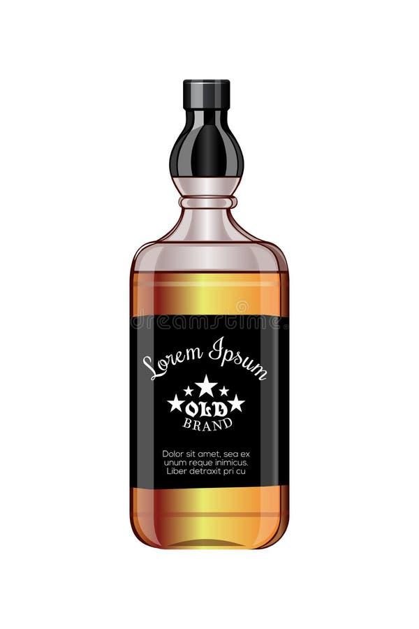 Perfezioni la progettazione per la progettazione dell'alcool Bottiglia dell'elite Illustrazione di vettore illustrazione vettoriale