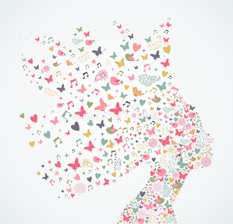 Perfil abstrato da mulher com ilustração das flores ilustração stock