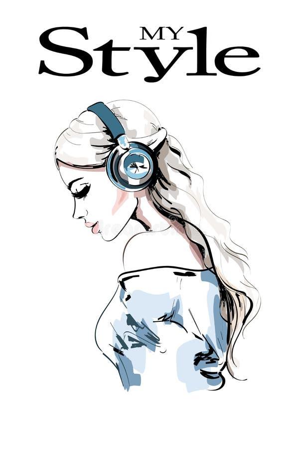 Perfil bonito da mulher nova Retrato desenhado mão da mulher Menina da forma nos fones de ouvido esboço ilustração royalty free
