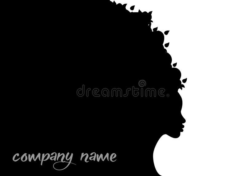 Perfil bonito de uma silhueta da mulher Conceito Logo Template da beleza Nome da empresa do vetor isolado ilustração royalty free