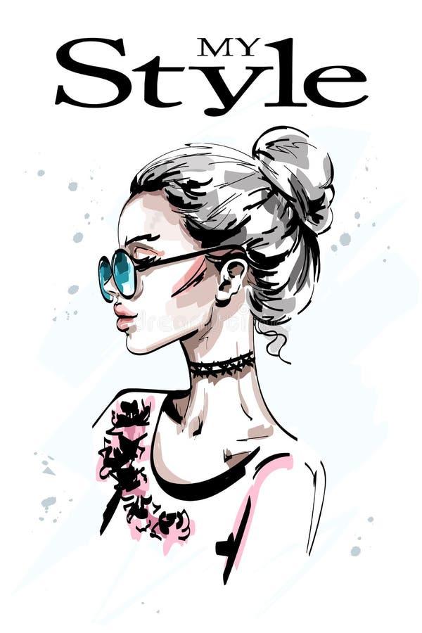 Perfil bonito tirado mão da jovem mulher Menina elegante à moda do cabelo louro nos óculos de sol Retrato da mulher da forma ilustração royalty free