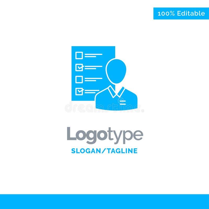Perfil, capacidades, negocio, empleado, trabajo, hombre, curriculum vitae, habilidades Logo Template sólido azul Lugar para el Ta ilustración del vector