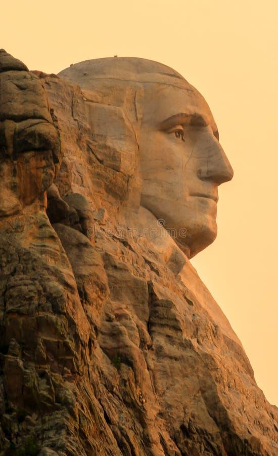 Perfil conmemorativo nacional del monte Rushmore Washington en la salida del sol imagen de archivo libre de regalías