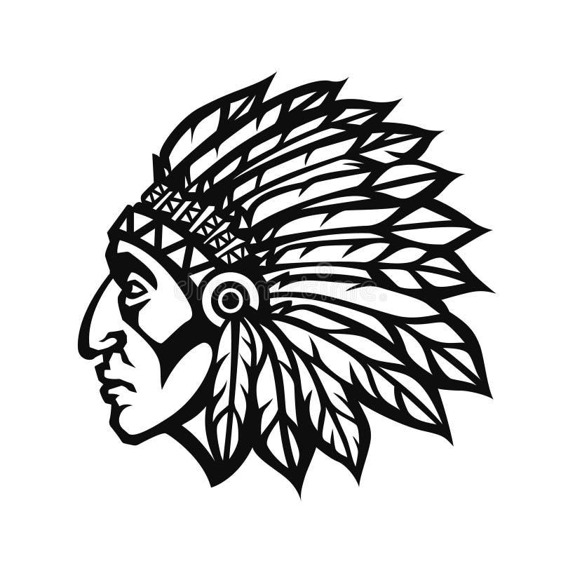 Perfil da cabeça do chefe indiano do nativo americano Logotipo da equipe de esporte da mascote Ilustração do vetor imagem de stock royalty free