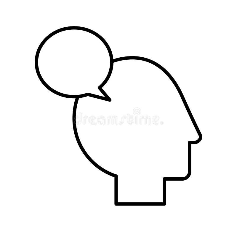 Perfil da cabeça humana com bolha do discurso ilustração royalty free