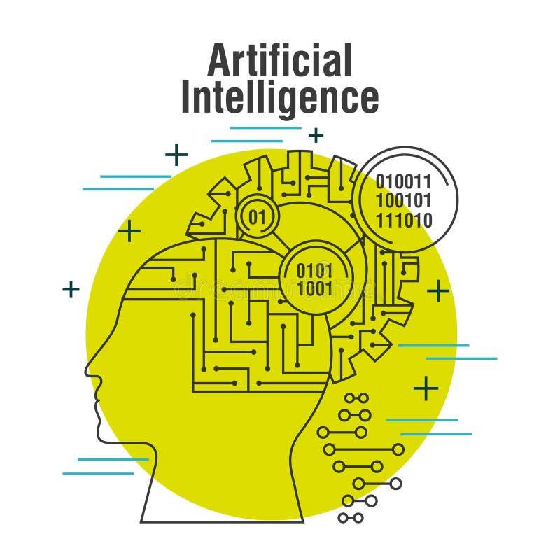 Perfil da cabeça da inteligência artificial com o binário do cérebro da engrenagem ilustração royalty free