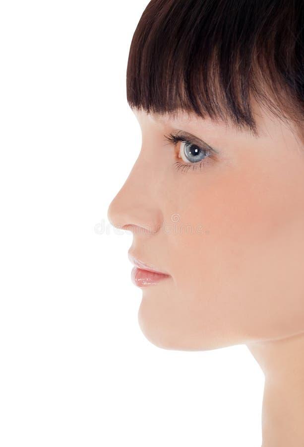 Perfil da cara bonita da mulher sobre o branco imagens de stock royalty free