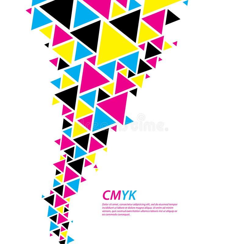 Perfil da cor de CMYK. Fluxo abstrato do triângulo - tornado no colo do cmyk ilustração stock