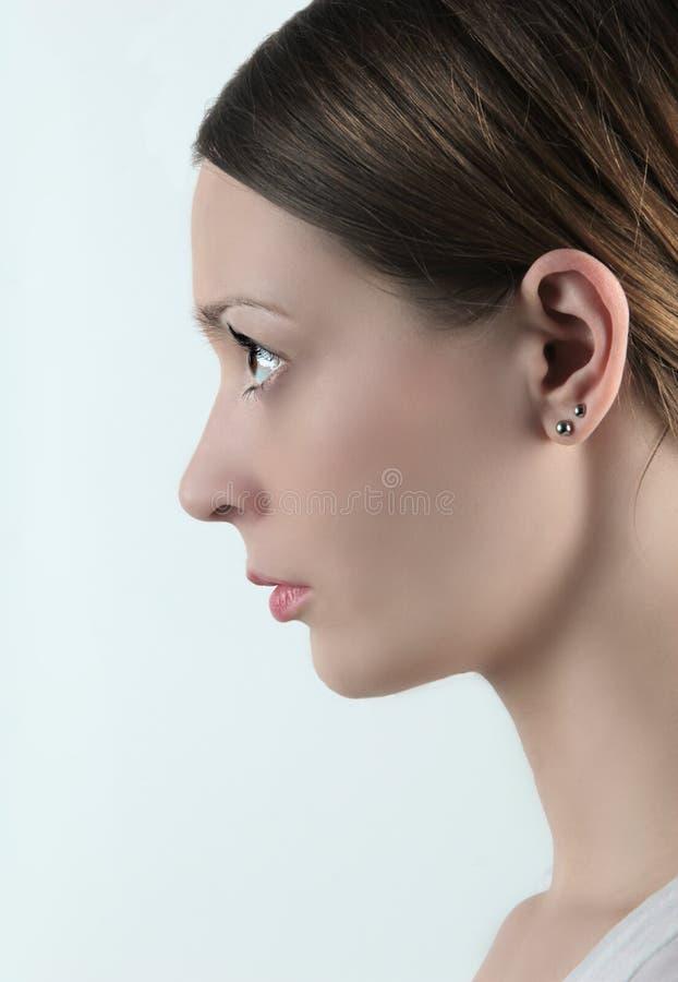 Perfil da face da mulher fotografia de stock royalty free