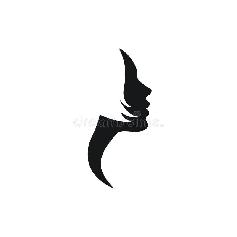 Perfil da face da mulher do vetor com cabelo curto ilustração do vetor