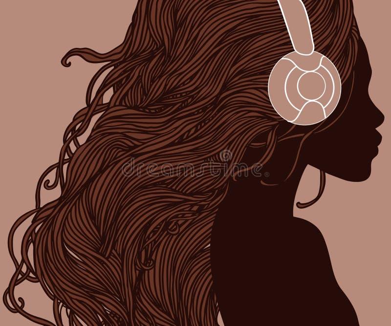 Perfil da menina afro-americano bonita nos auscultadores ilustração royalty free