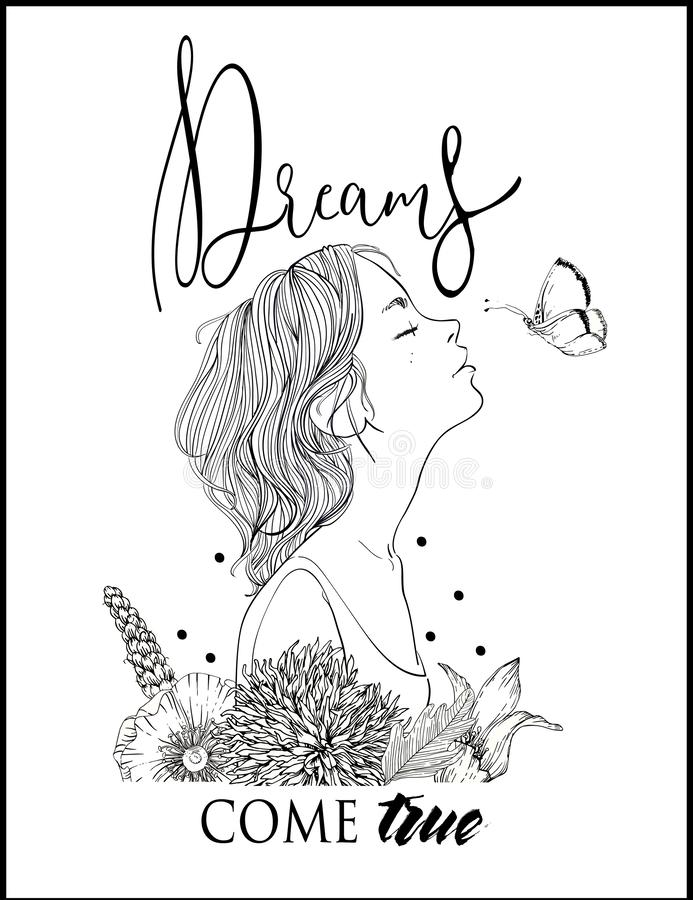 Perfil da mulher bonita nova com rotulação ilustração royalty free