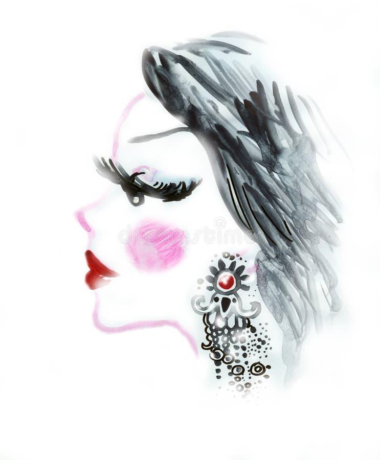 Perfil da mulher com brinco ilustração royalty free