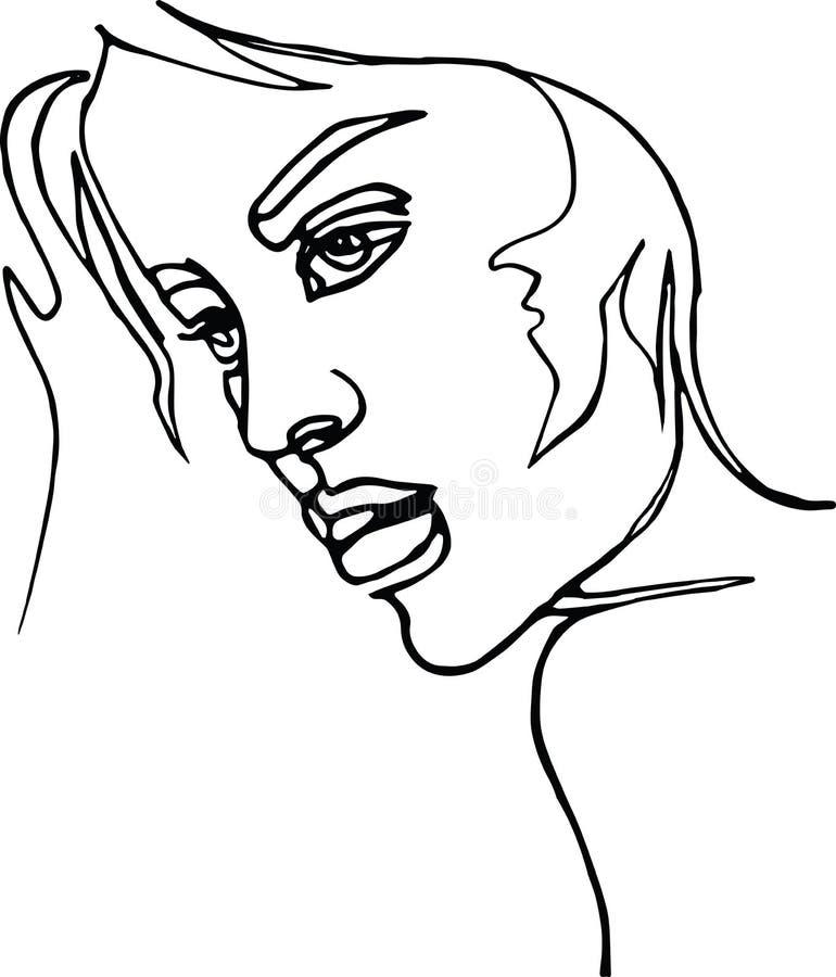Perfil da mulher, a lápis desenho contínuo ilustração stock
