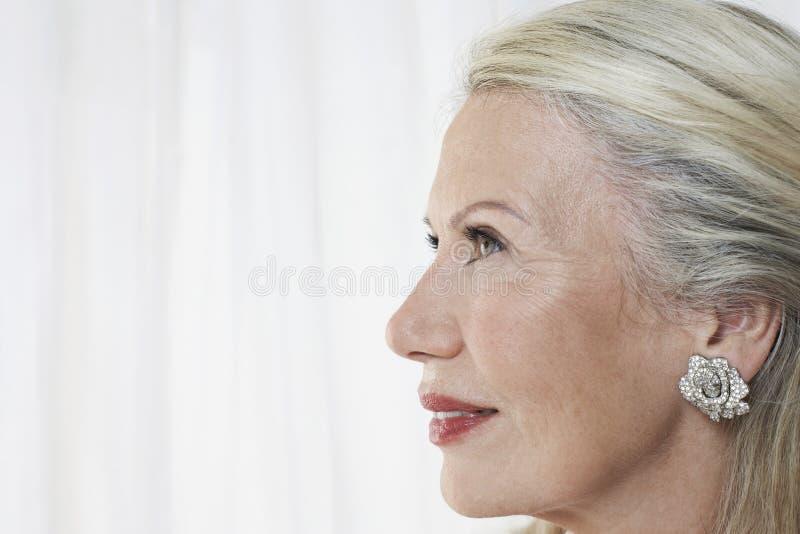 Perfil da mulher superior bonita foto de stock
