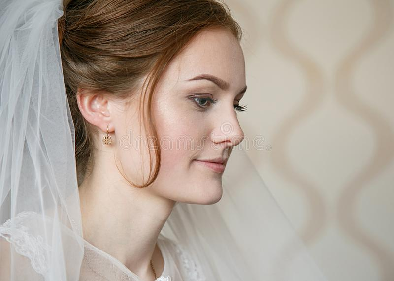 Perfil da noiva no véu fotos de stock royalty free