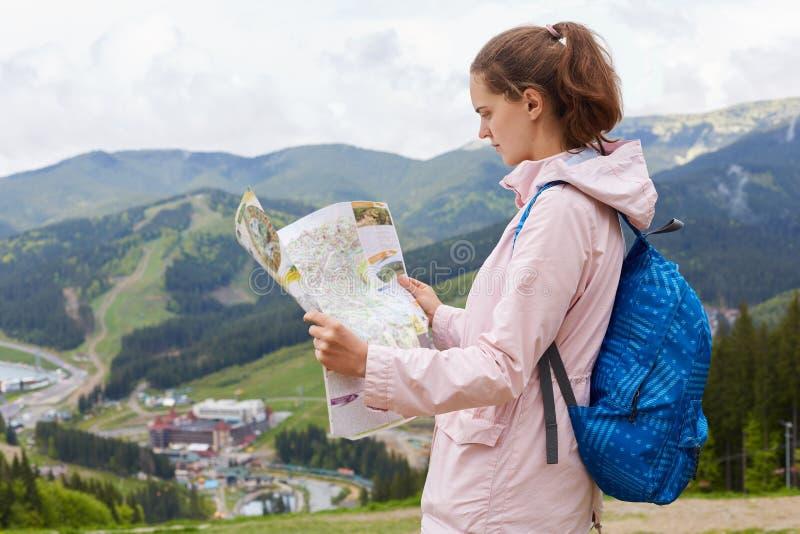 Perfil da posição curiosa nova do viajante no auge do monte, guardando o mapa pequeno, olhando o atentamente, sendo confundido, fotografia de stock