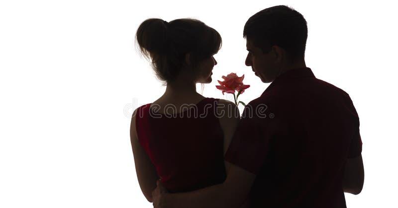 Perfil da silhueta de um indivíduo e de uma menina que olham se no fundo isolado branco, um homem com uma flor cor-de-rosa para u imagem de stock royalty free