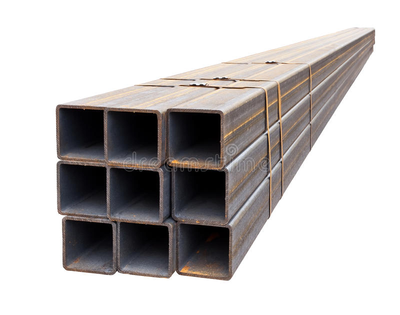Perfil da tubulação do metal isolado no fundo branco imagem de stock royalty free