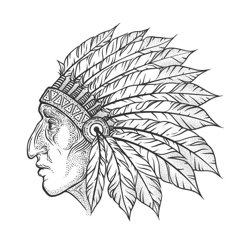 Perfil de la cabeza del jefe indio del nativo americano Ejemplo del vintage del vector Estilo dibujado mano Elemento bohemio tatu libre illustration