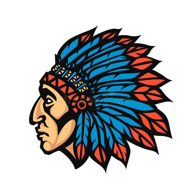 Perfil de la cabeza del jefe indio del nativo americano Logotipo del equipo de deporte de la mascota Ilustración del vector stock de ilustración