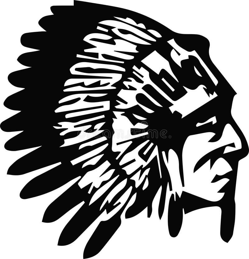 Perfil de la cabeza del jefe indio del nativo americano Logotipo del ejemplo del vector Aislado en el fondo blanco ilustración del vector
