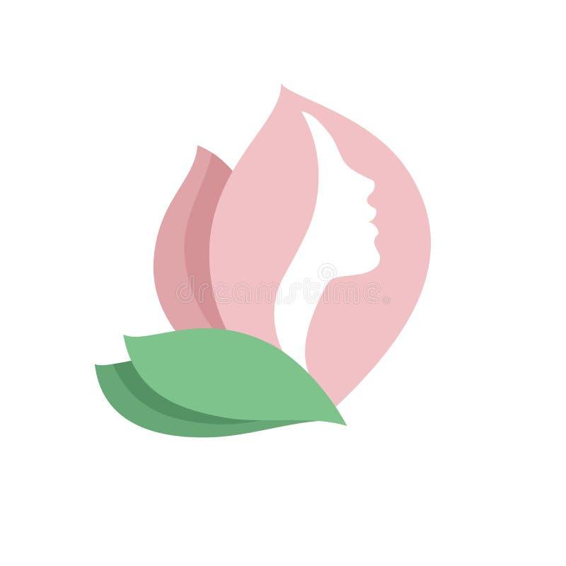 Perfil de la cara de la mujer en brote de flor rosado stock de ilustración