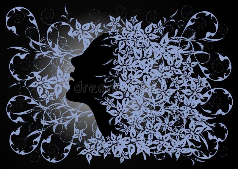 Perfil de la muchacha en fondo floral ilustración del vector