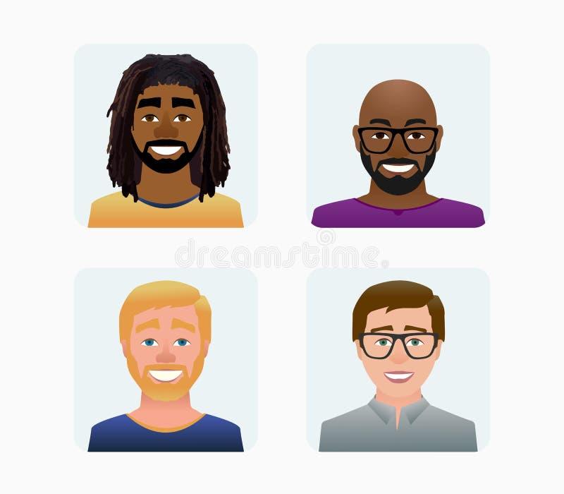 Perfil de los avatares de los caracteres en el ejemplo de color plano del estilo de la historieta libre illustration