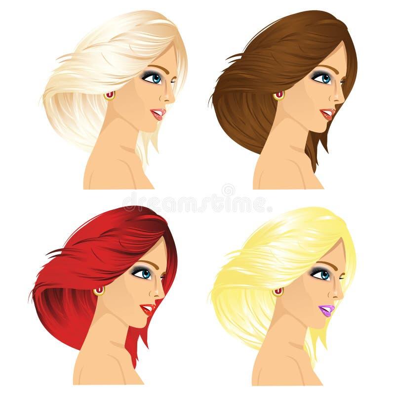Perfil de quatro mulheres com cor diferente do cabelo ilustração do vetor