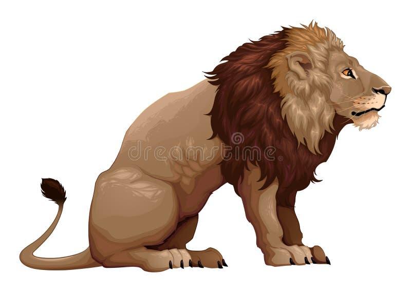Perfil de um leão de assento ilustração do vetor