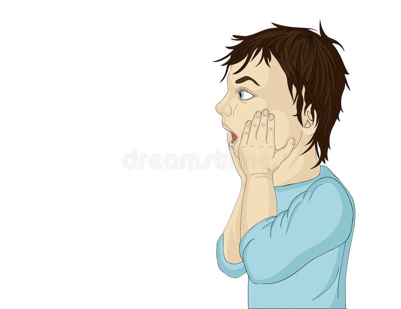 Perfil de um rapaz pequeno muito surpreendido Mãos na cara A boca está aberta ilustração royalty free