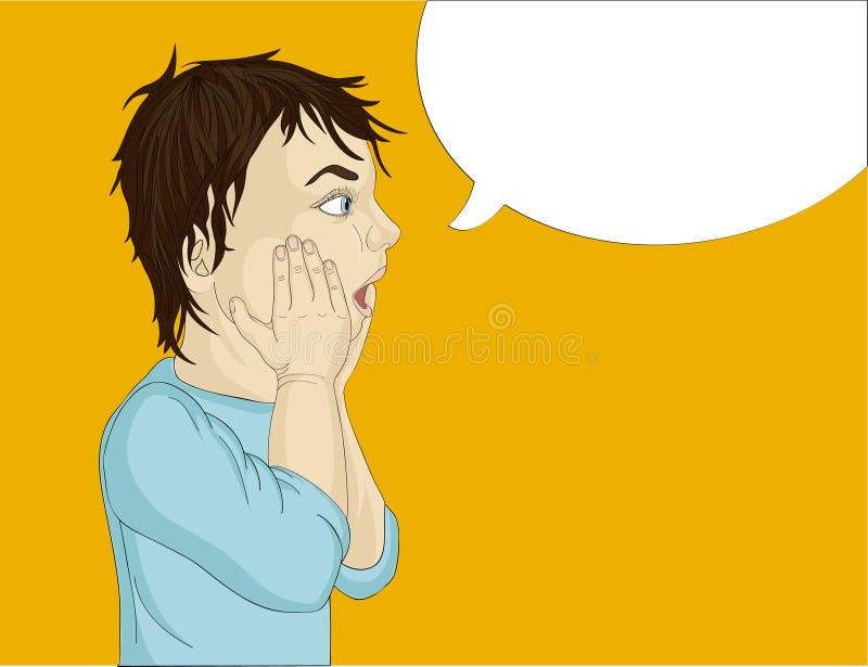 Perfil de um rapaz pequeno muito surpreendido Mãos na cara A boca está aberta ilustração stock
