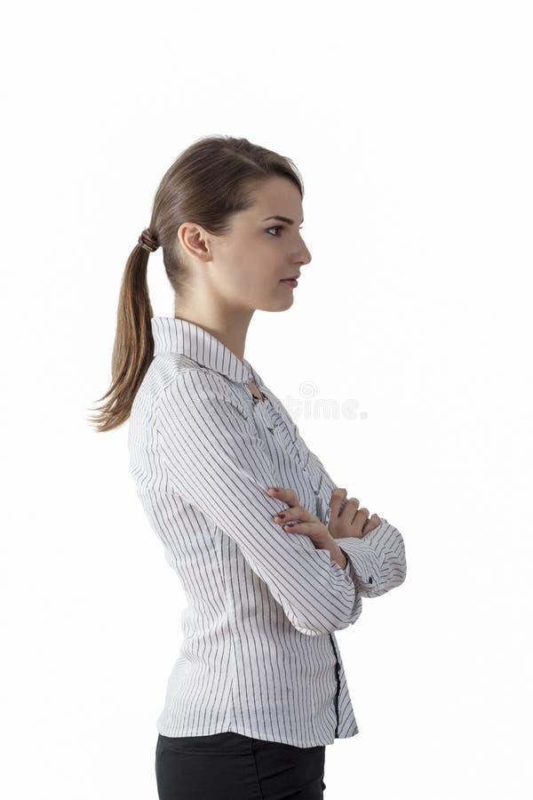 Perfil de uma jovem mulher com rabo de cavalo fotografia de stock royalty free