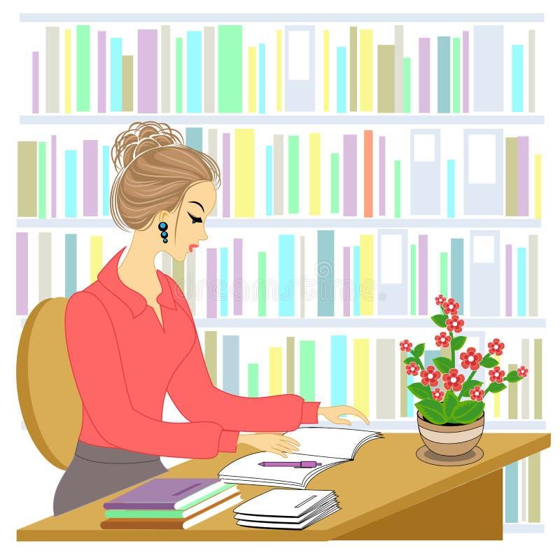 Perfil de uma jovem senhora bonita A menina está sentando-se na tabela na biblioteca Uma mulher trabalha como um bibliotec?rio Ve ilustração royalty free