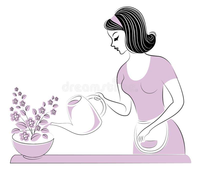 Perfil de uma menina bonita A senhora importa-se com as cores da sala Uma mulher derramou-os água Ilustra??o do vetor ilustração stock