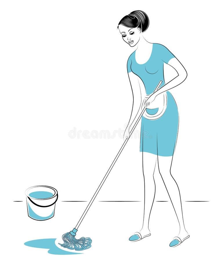 Perfil de uma senhora bonita A menina lava o assoalho na sala com um espanador Uma mulher ? uma boa esposa, uma dona de casa pura ilustração do vetor