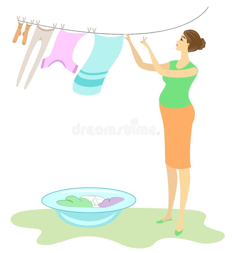 Perfil de uma senhora bonita A mulher gravida pendura a roupa molhada na jarda A menina é aeromoça doce e amável Ilustra??o do ve ilustração stock