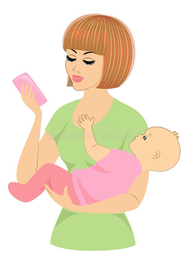 Perfil de uma senhora doce Silhueta da menina, guarda o beb? em seus bra?os Uma mulher nova e bonita Maternidade feliz ilustração do vetor