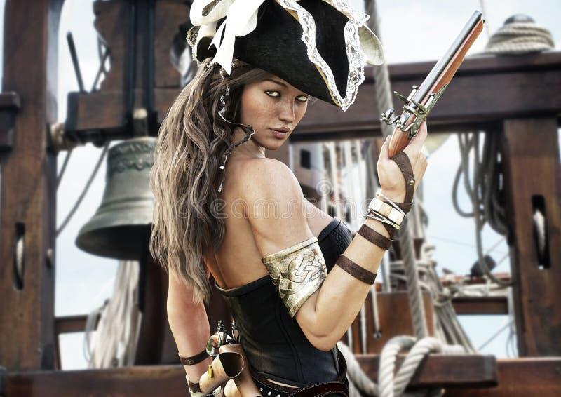 Perfil de un capitán femenino del pirata atractivo que se coloca en la cubierta de su nave con la pistola a disposición stock de ilustración